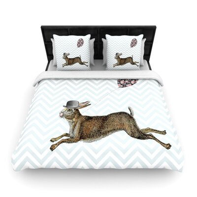 Suzanne Carter Hare Today Rabbit Woven Duvet Cover Size: Full/Queen