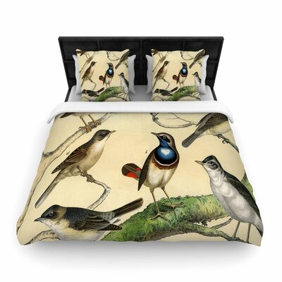 Suzanne Carter Vintage Birds Nature Woven Duvet Cover Size: King