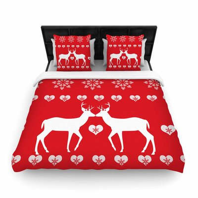 Suzanne Carter Christmas Deer 2 Holiday Pattern Woven Duvet Cover Size: King