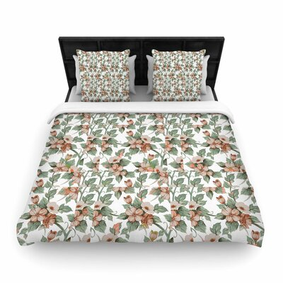 Suzanne Carter Vintage Flowers Floral Woven Duvet Cover Size: King