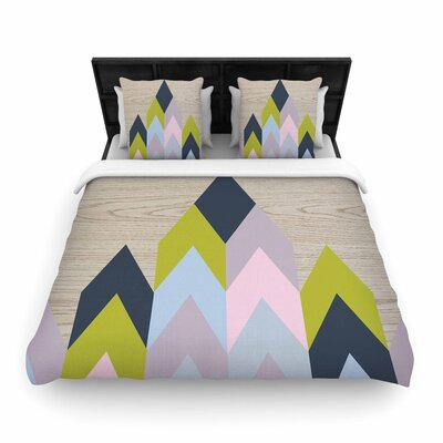 Suzanne Carter Woodgrain Geometric Woven Duvet Cover Size: Full/Queen