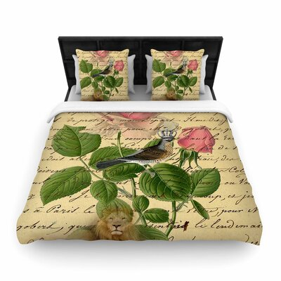Suzanne Carter Vintage Dream Floral Script Woven Duvet Cover Size: Full/Queen