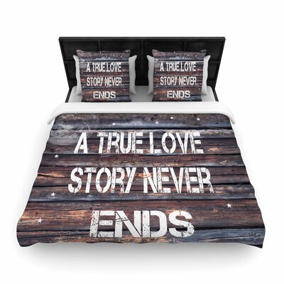 Suzanne Carter True Love Contemporary Typography Woven Duvet Cover Size: Twin