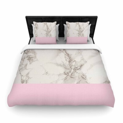 Suzanne Carter Marble and Block Modern Contemporary Woven Duvet Cover Color: Pink, Size: King