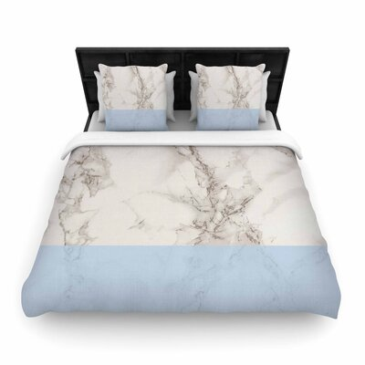 Suzanne Carter Marble and Block Modern Contemporary Woven Duvet Cover Color: Blue, Size: Full/Queen