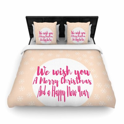 Suzanne Carter Merry Chistmas & Happy New Year Woven Duvet Cover Size: Full/Queen