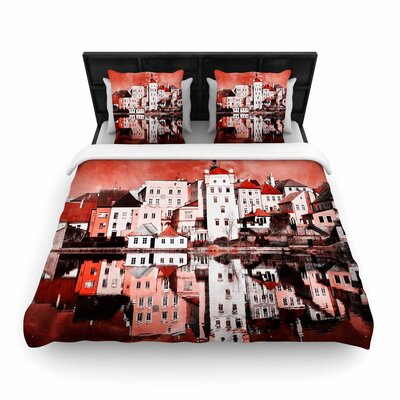 Suzanne Carter Sky At Night Woven Duvet Cover Color: Red/White, Size: Full/Queen