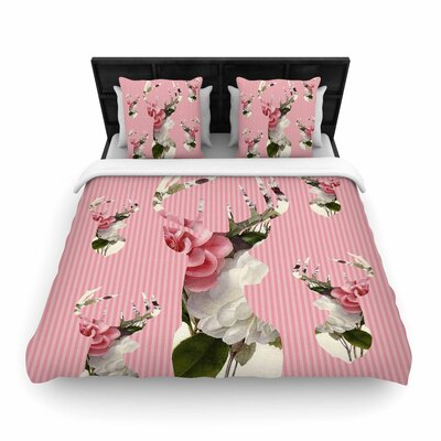 Suzanne Carter Floral Deer Woven Duvet Cover Size: Full/Queen