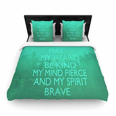 Suzanne Carter Kind Typography Woven Duvet Cover Color: Green/Aqua, Size: Full/Queen