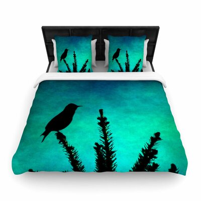Sylvia Coomes Bird Silhouette Woven Duvet Cover Size: King
