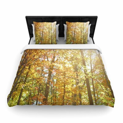 Sylvia Coomes Autumn Trees 2 Woven Duvet Cover Size: Twin
