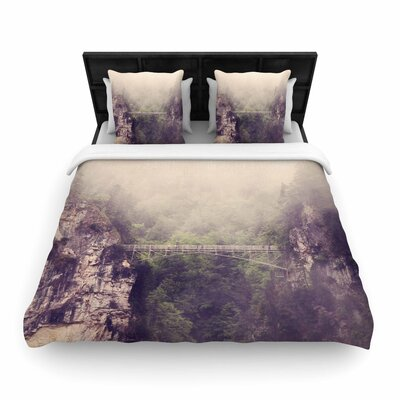 Sylvia Coomes Foggy Mountain Landscape Woven Duvet Cover Size: Full/Queen