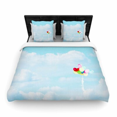 Sylvia Coomes Balloons in the Sky Photography Kids Woven Duvet Cover Size: Twin