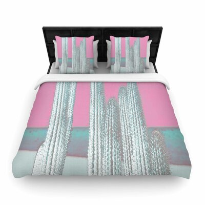 Suzanne Carter Cactus Digital Woven Duvet Cover Size: Full/Queen, Color: Pink/Gray
