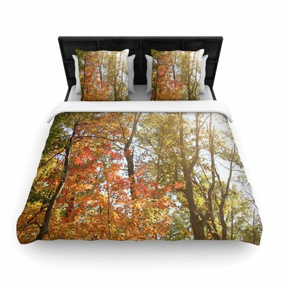 Sylvia Coomes Autumn Trees 1 Woven Duvet Cover Size: King