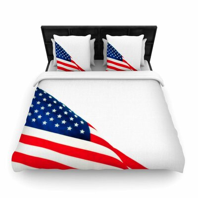 Sylvia Coomes American Flag Holiday Woven Duvet Cover Size: King