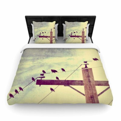 Sylvia Coomes Vintage Birds on a Wire 2 Digital Woven Duvet Cover Size: Twin