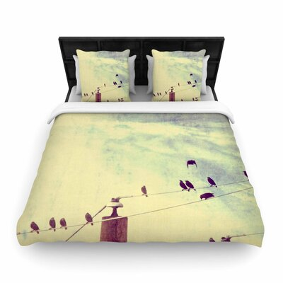 Sylvia Coomes Vintage Birds on a Wire 1 Vintage Woven Duvet Cover Size: Full/Queen