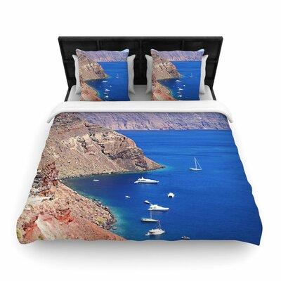 Sylvia Coomes Santorini Coastline Woven Duvet Cover Size: Full/Queen