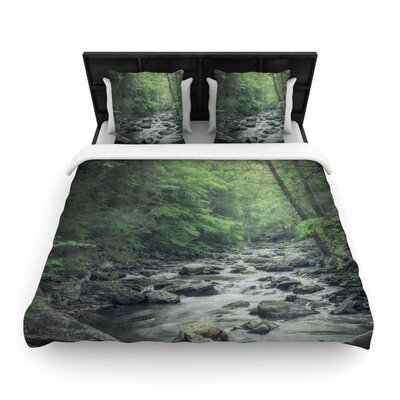 Suzanne Harford Misty Forest Stream Nature Photography Woven Duvet Cover Size: Full/Queen