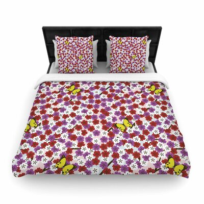 Setsu Egawa Cherry Blossom and Butterfly Woven Duvet Cover Size: Twin