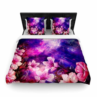 Shirlei Patricia Muniz Space Flowers Woven Duvet Cover