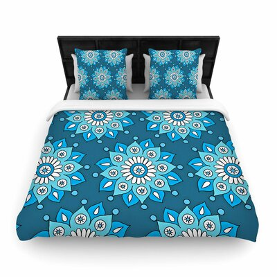 Sarah Oelerich Flower Burst Woven Duvet Cover Color: Blue, Size: King