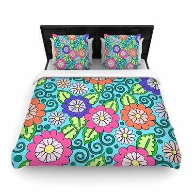 Sarah Oelerich Summer Floral Flowers Woven Duvet Cover Size: Full/Queen