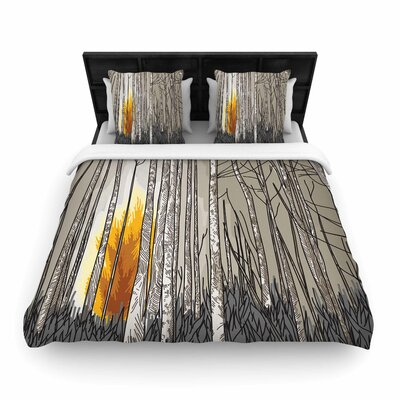 Sam Posnick Smokey Forest Fire Woven Duvet Cover Size: King