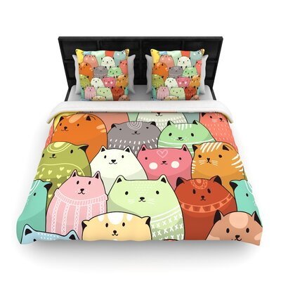 Snap Studio Kitty Attack Cat Illustration Woven Duvet Cover Size: Full/Queen