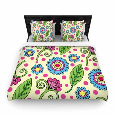 Sarah Oelerich Polka Dot Garden Floral Pattern Woven Duvet Cover Size: Twin