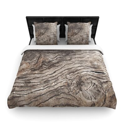 Susan Sanders Tree Bark Wooden Woven Duvet Cover Size: Twin
