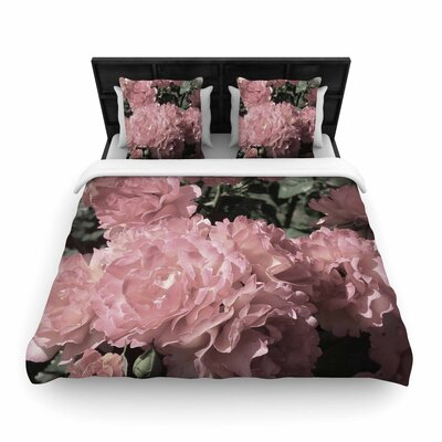 Susan Sanders Blush Flowers Floral Photography Woven Duvet Cover Size: Full/Queen