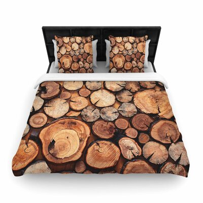 Susan Sanders Rustic Wood Logs Woven Duvet Cover Size: Full/Queen