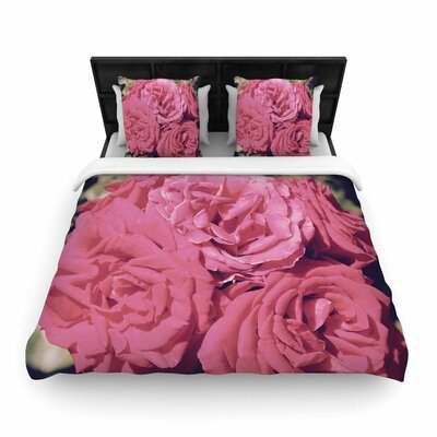 Susan Sanders Blush Blooming Roses Floral Photography Woven Duvet Cover Size: King
