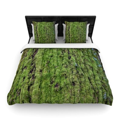 Susan Sanders Emerald Moss Nature Woven Duvet Cover Size: Twin