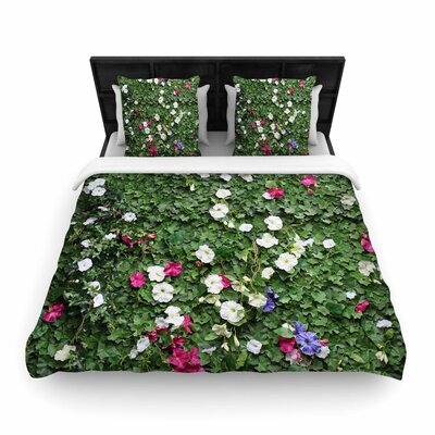 Susan Sanders Flower Vine Wall Nature Woven Duvet Cover Size: King