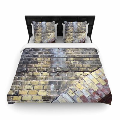 Susan Sanders Painted Grunge Brick Wall Woven Duvet Cover Size: King