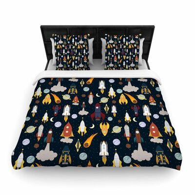 Stephanie Vaeth Rockets Celestial Pattern Woven Duvet Cover Size: Twin