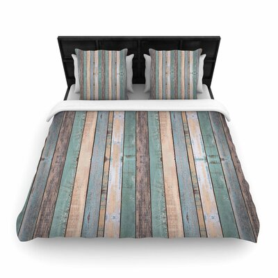 Susan Sanders Coastal Beach Wood Photography Woven Duvet Cover Size: Twin