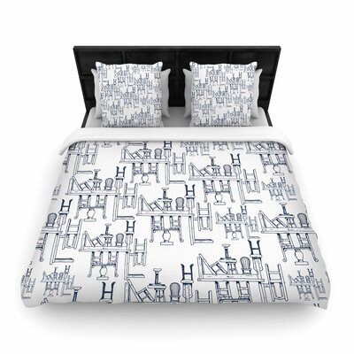 Stephanie Vaeth Tables & Chairs Abstract Woven Duvet Cover Size: King