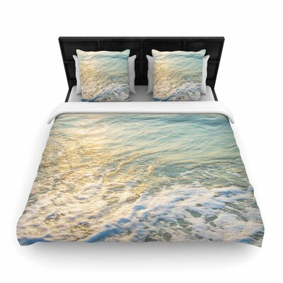 Susan Sanders Ocean Beach Water Photography Woven Duvet Cover Size: Twin