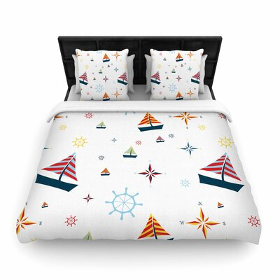Stephanie Vaeth Sailing Coastal Pattern Woven Duvet Cover Size: King
