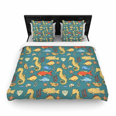 Stephanie Vaeth under the Sea Illustration Woven Duvet Cover Size: King