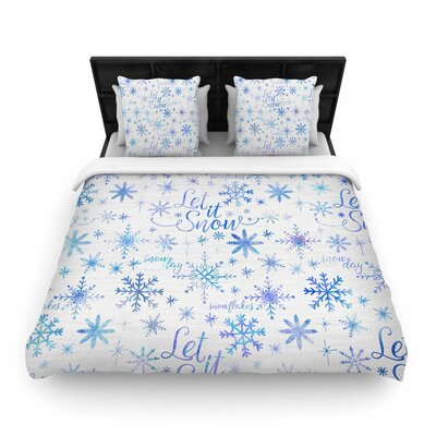 Noonday Design Let It Snow Winter Pattern Woven Duvet Cover Size: Full/Queen