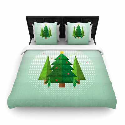 Noonday Design Geometric Christmas Tree Woven Duvet Cover Size: King