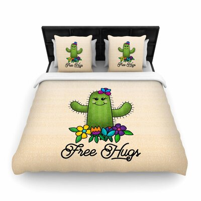 Noonday Design Free Hugs Cactus Woven Duvet Cover Size: Full/Queen