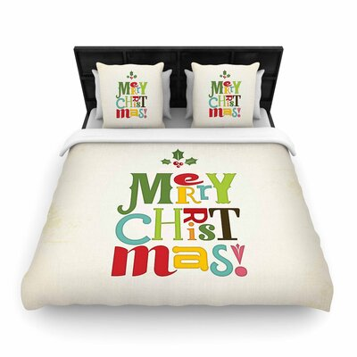 Noonday Design Merry Christmas Woven Duvet Cover Size: Full/Queen