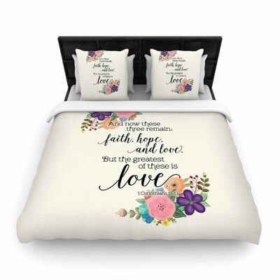 Noonday Design Faith, Hope, and Love Woven Duvet Cover Size: Twin