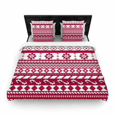 Noonday Design Fairisle Christmas Pattern Woven Duvet Cover Size: Twin